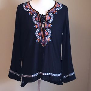 Love Stitch Black  Embroidered LaceUp Tunic Top S